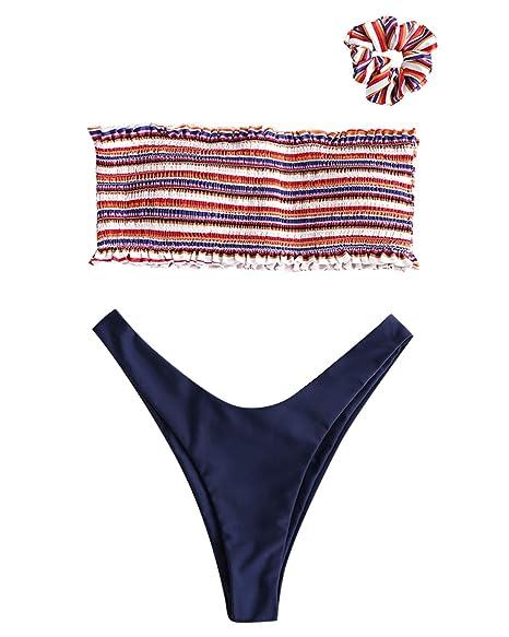 ca480767443d8 Amazon.com  ZAFUL Women Sexy Smocked Thong Bikini Set Bandeau Swimsuit Two  Piece Bathing Suits  Clothing