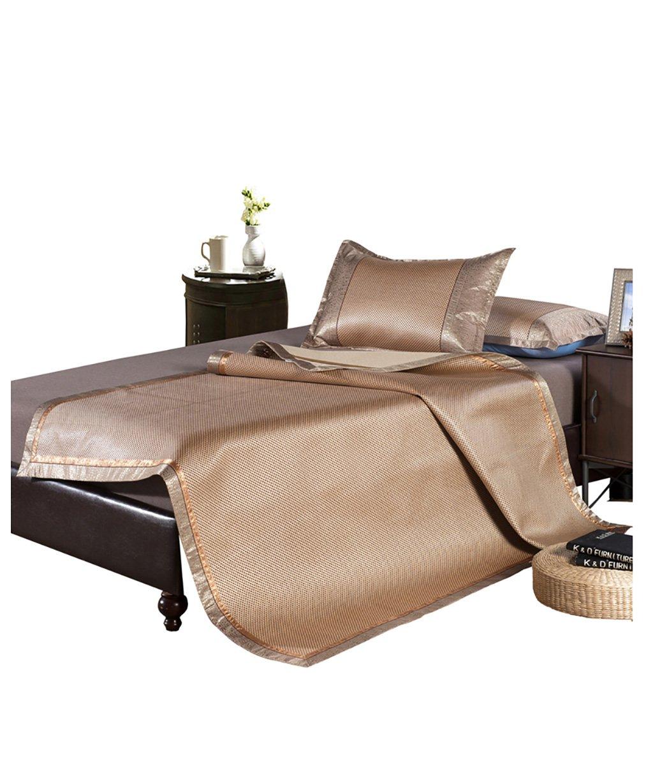 WENZHE Matratzen Strohmatte Teppiche Eisseide Bambus Sommer Schlafmatten Haushalt Atmungsaktiv Faltbar Matten (Farbe : Braun, größe : 1.5  1.95m)