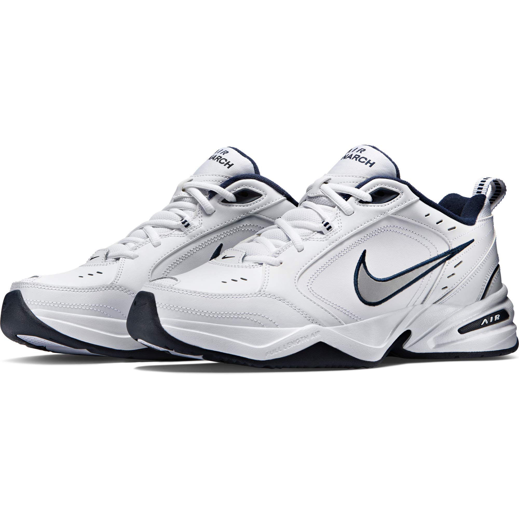 Nike Men's Air Monarch IV Cross Trainer, White/Metallic Silver/Midnight Navy, 6.5 4E US