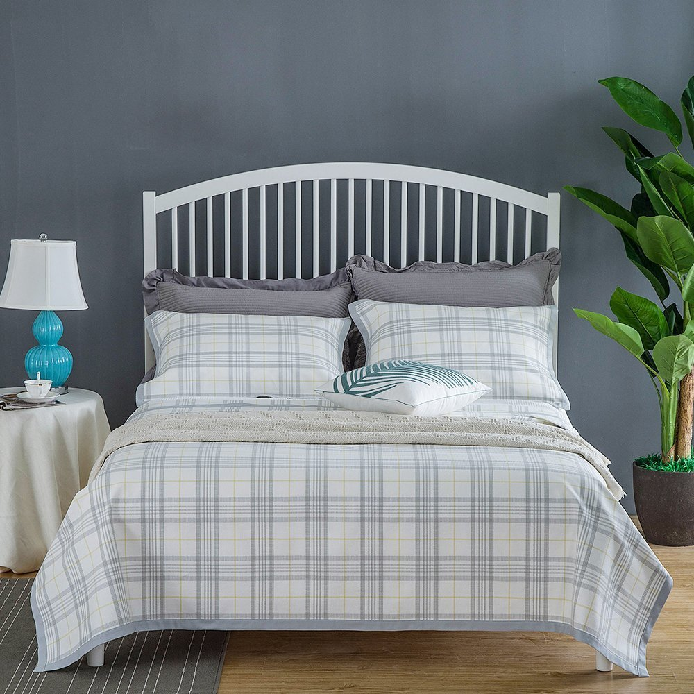 Oasis Hemp Set of 3 Hemp Cotton Sheets Bed Sheets with Check Gingham - Top Quality Bedding Sheets Breathable Mat for Boy, Girl Or Old Men, Ideal Gift 7657 - 78.7 x 82.6 Inch