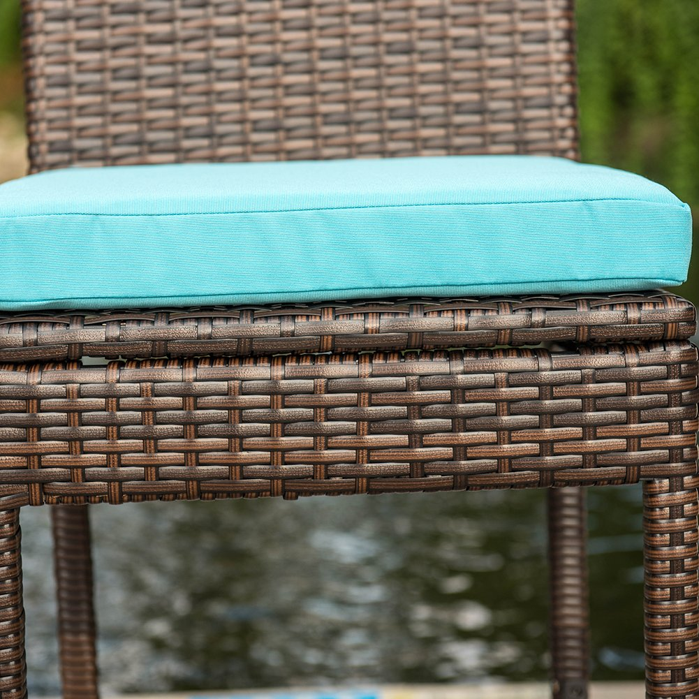 Sundale Outdoor 2 Pcs All Weather Patio Furniture Brown Wicker Barstool with Cushions, Blue