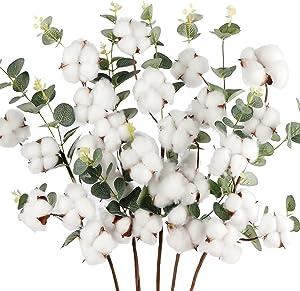 AerWo 5pcs Cotton Stems, Artificial Cotton Flowers Rustic Farmhouse Decor Cotton Flowers Decor, 23.6