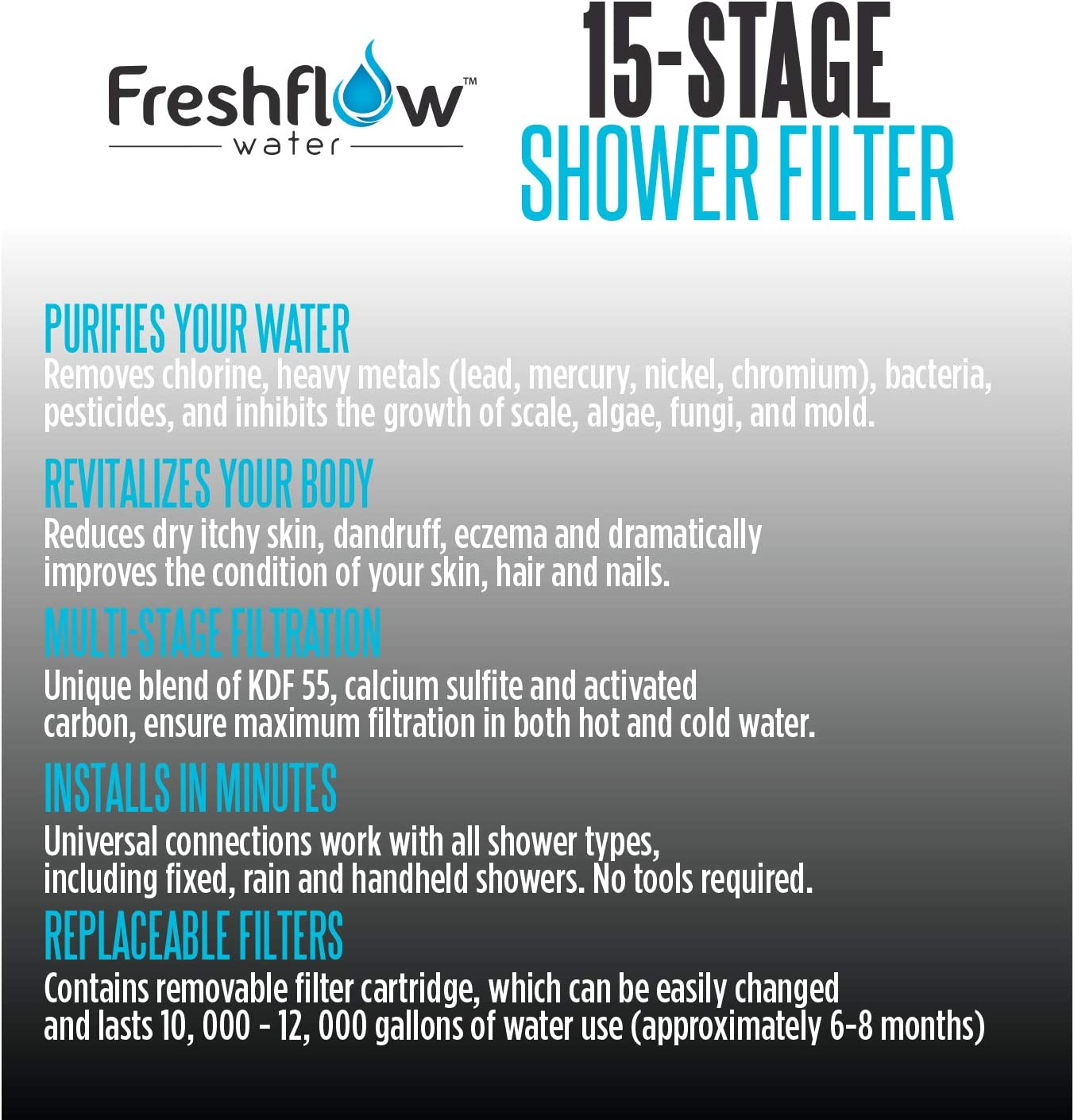 Freshflow Shower Head Water Filter Specs