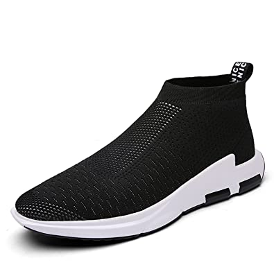 IceUnicorn Mens Trainers Slip on Lightweight Running Shoes Outdoor  Breathable Sneakers Casual Walking Shoes(Black db477e68606b