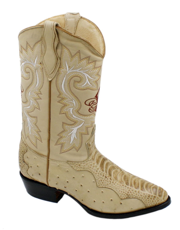Men Genuine Cowhide Ostrich and Crocodile Print Leather J Toe Cowboy Boots
