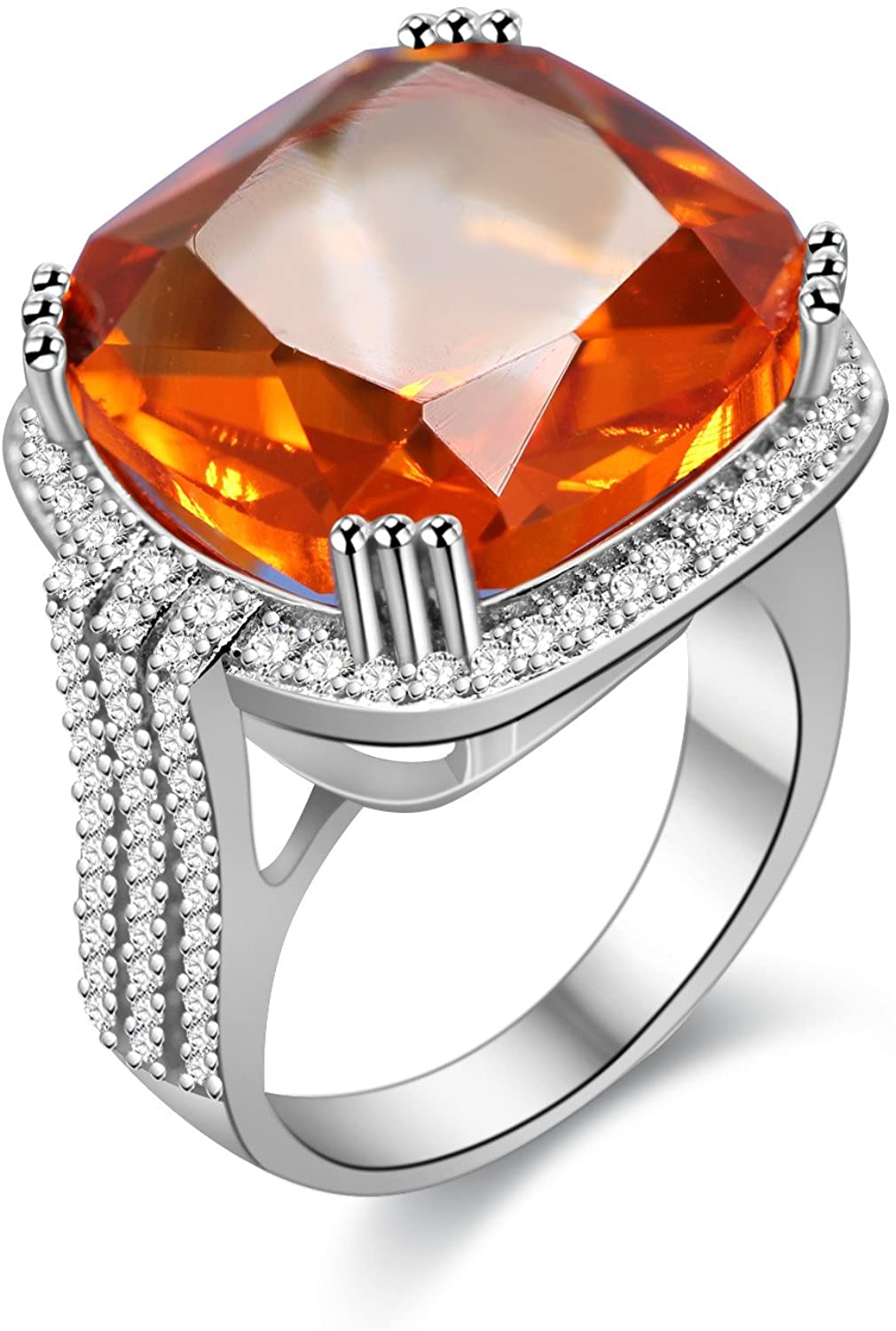 Uloveido Platinum Plated Big Princess Square Orange Stone Cocktail Ring for Women and Men with Cubic Zirconia Size 6 7 8 9 10 RA219