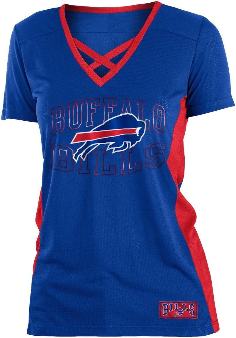 5th /& Ocean Buffalo Bills Womens Logo Arch Polymesh V-Neck T-Shirt