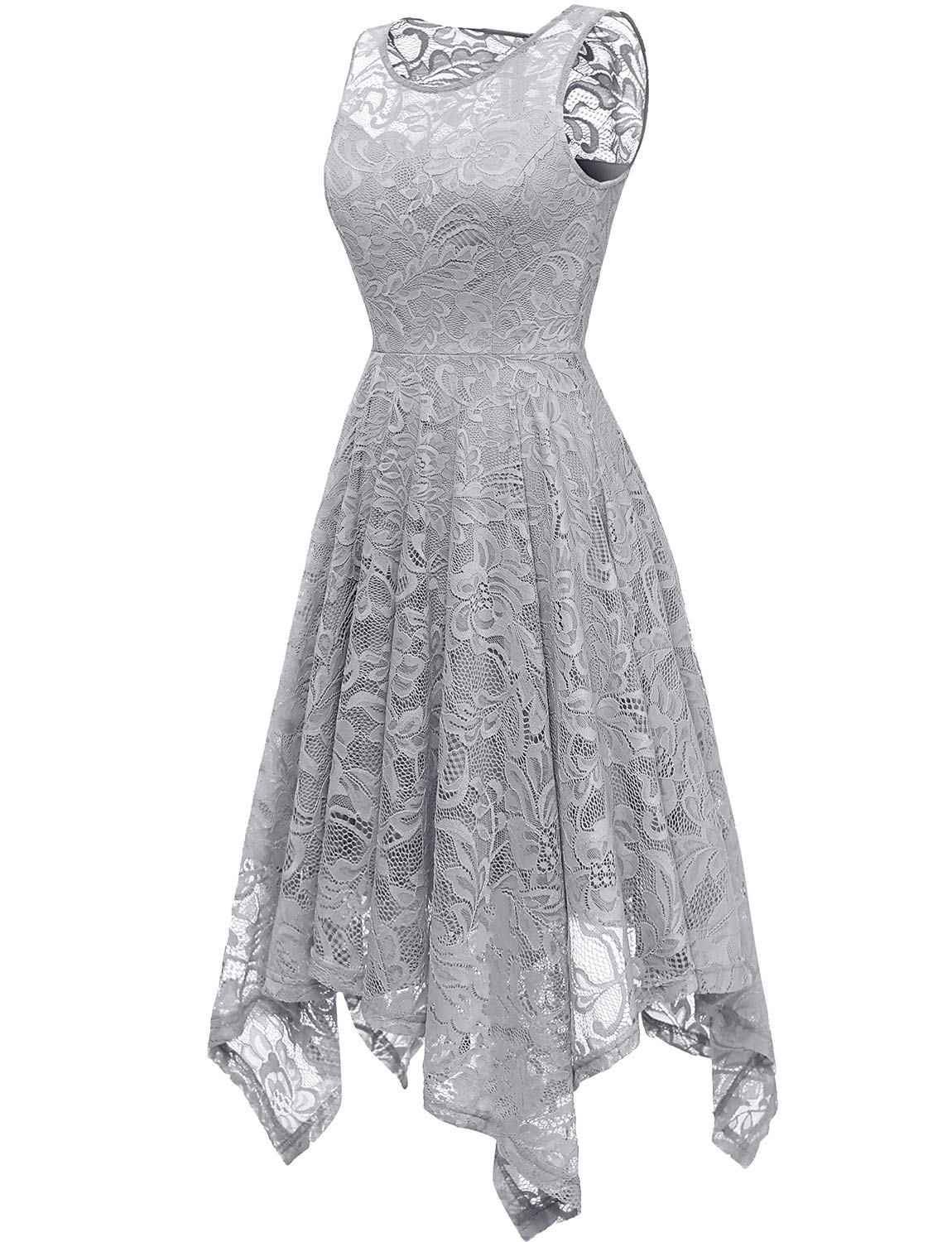 Gardenwed Floral Lace Bridesmaid Dresses Wedding Guest Dress Handkerchief Hem Formal Dresses Cocktail Dresses For Women Grey 2xl