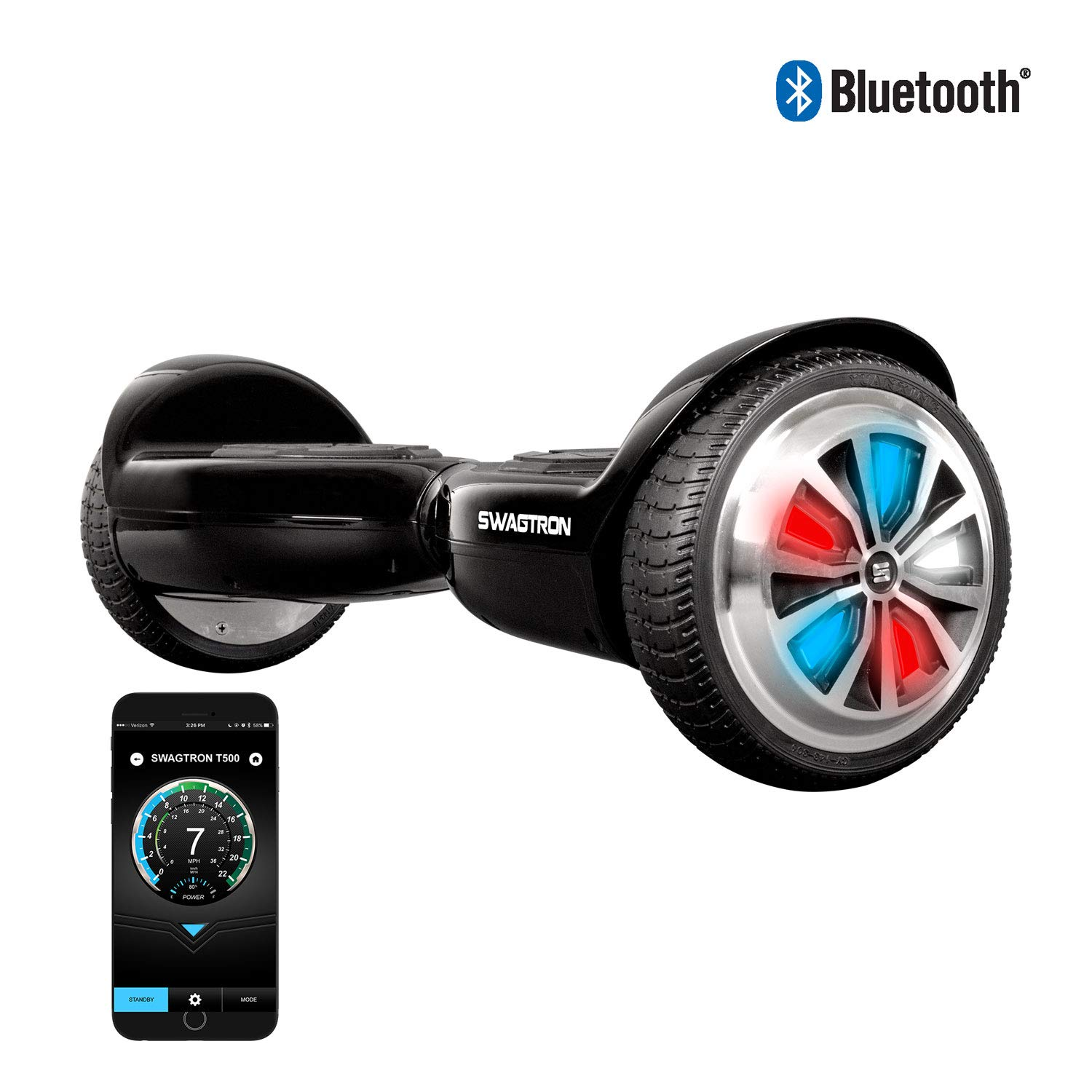 Swagtron T500 App-Enabled Bluetooth Hoverboard for Kids; LED Light-Up Wheels, Entry-Level Self-Balancing Scooter w/Optional Learning Mode, UL2272 (Black) by Swagtron