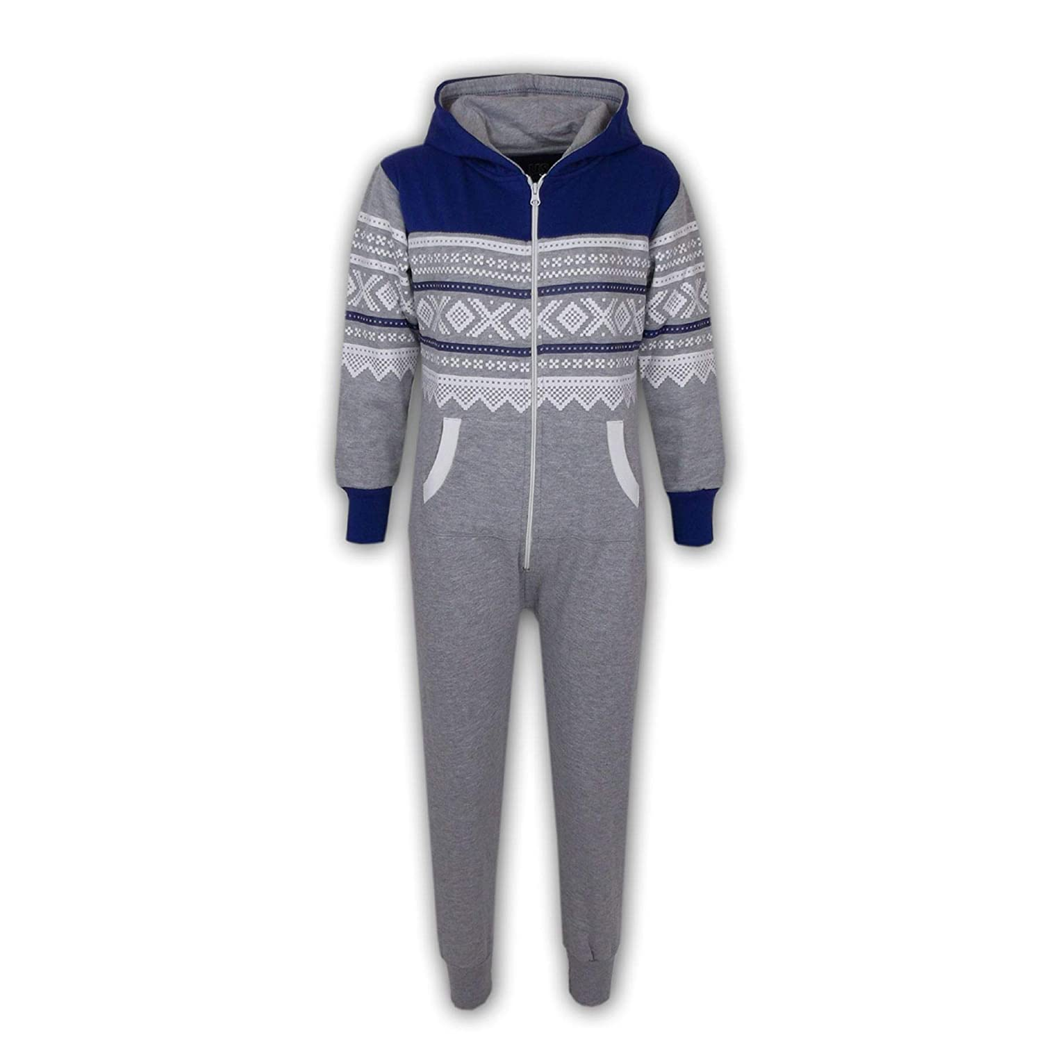 A2Z 4 Kids/® Kids Girls Boys Aztec Snowflake Print Hooded Onesie All in One Jumpsuit Age 5 6 7 8 9 10 11 12 13 Years