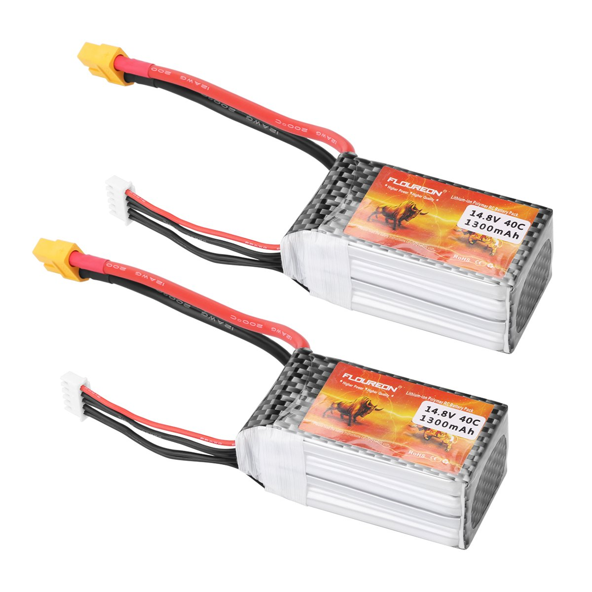 FLOUREON Lipo 4S 40C 14.8V 1300mAh XT60 Plug Rechargeable RC Battery for RC Car Truck Boat RC FPV UAV Drones Airplane Helicopter DIY Hobby and More (2pack)
