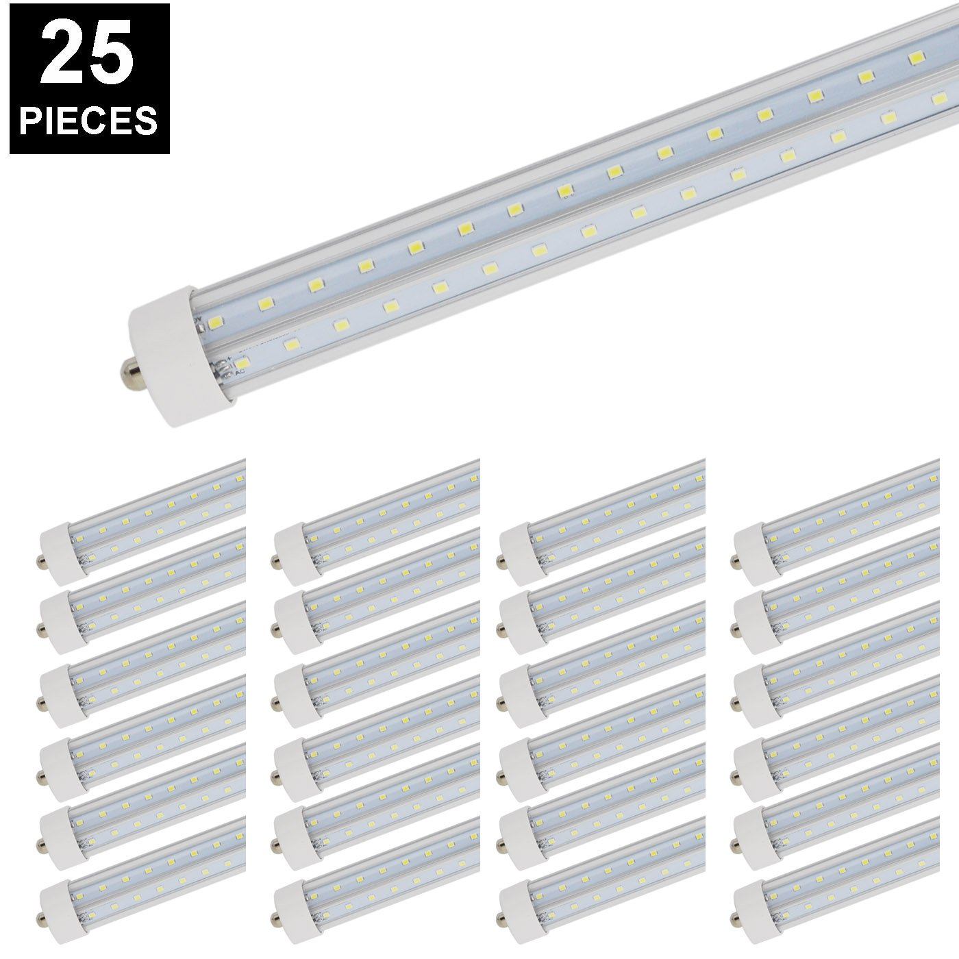 CNSUNWAY 8ft 72W T8 LED Tube, FA8 Single Pin 96'' V-shaped Light Bulb 6000K Cool White Lamps With Clean Cover (25 Pack)