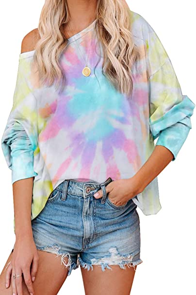 VECVOC Women Tie Dye Sweatshirt Long Sleeve Printed Pullover Tops