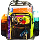 "Large Clear Plastic Backpack (17"") - Heavy Duty, Water Resistant - Adults & Kids"