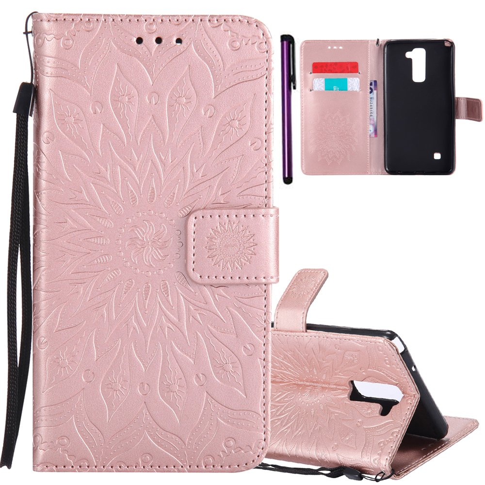 ISADENSER LG LS775 Case LG G Stylo 2 Case [Wallet Stand] With Shockproof Credit Card Holder Flip Magnetic Closure Protection New PU Leather Wallet Case Cover for LG Stylo 2 Plus Rose Gold Sunflower