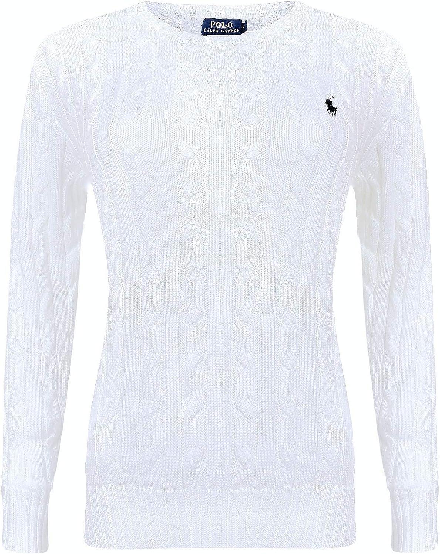 Ralph Lauren Jersey de Punto con Cuello Redondo para Mujer Blanco ...