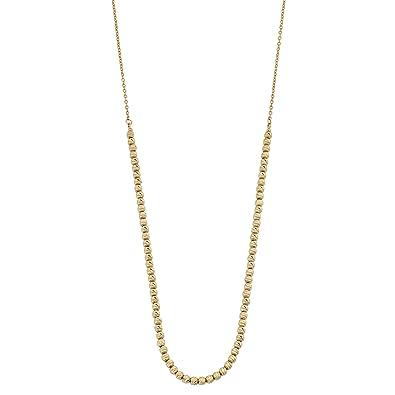 922a4b912335d Amazon.com: Kooljewelry 14k Yellow Gold Diamond-Cut Bead Necklace ...