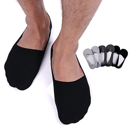 a4f09378a Mens No Show Socks 6 Pack Low Cut Cotton Socks with Full Silicone Non-slip
