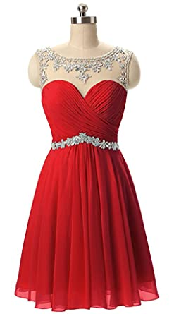 Butmoon Womens Chiffon Beaded Homecoming Dresses short Prom Dresses Red US0