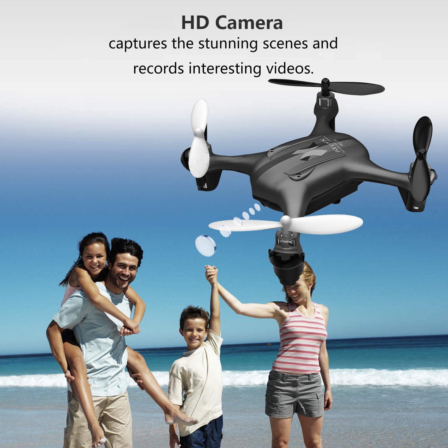 ATOYX AT-96 FPV Mini Drone, RC Quadcopter HD Wi-Fi Camera Live Video with  Altitude Hold Function Headless Mode 3D Flips One Key Take Off/Landing Easy