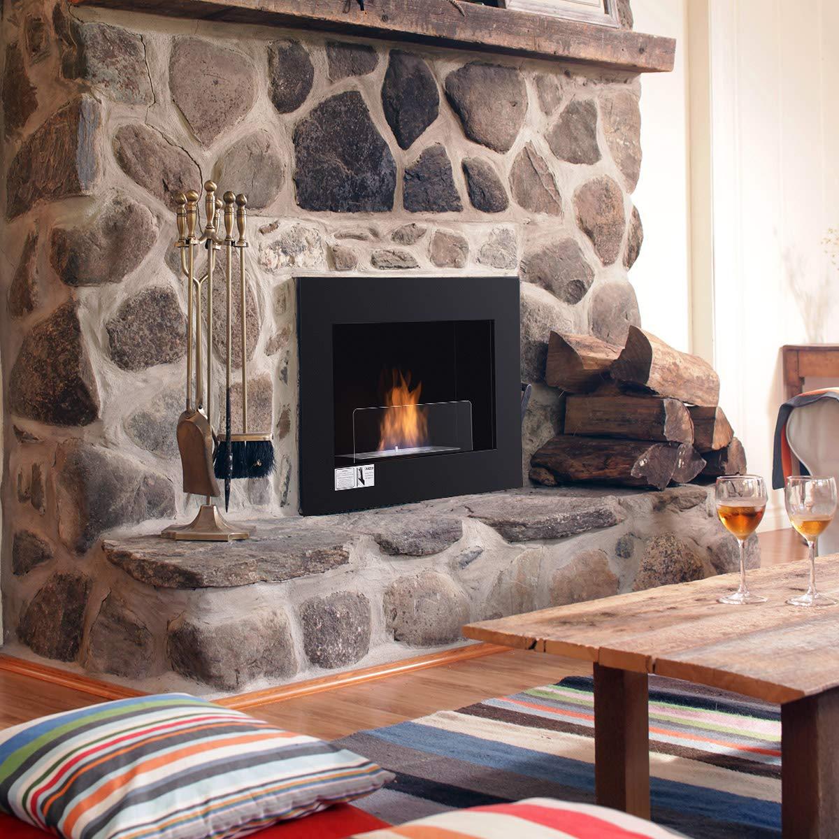 Tangkula 27.5/'/' Wall Mounted Bio-Ethanol Fireplace Ventless Hanging Fireplace Burner Tabletop Fireplace