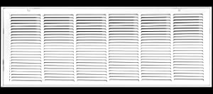 """36"""" X 12 Steel Return Air Filter Grille for 1"""" Filter - Removable Face/Door - HVAC Duct Cover - Flat Stamped Face - White [Outer Dimensions: 38.5 X 13.75]"""