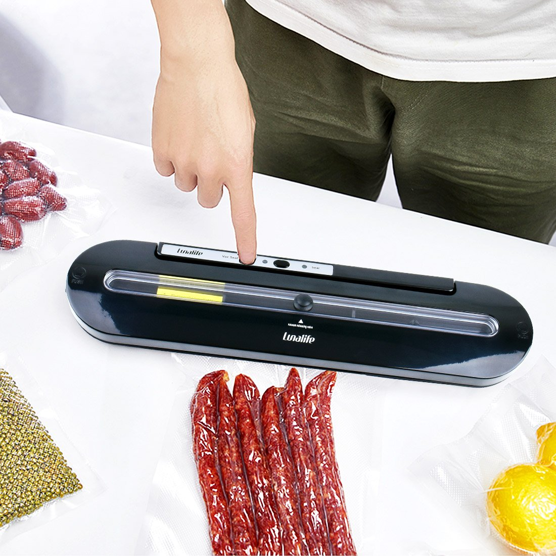 Vacuum Sealer Upgraded Automatic Vacuum Air Sealing System Preserve & Store Food Vacuo for Sous Vide Cooking Roll of Vacuum Bags (Black) by LunaLife (Image #2)