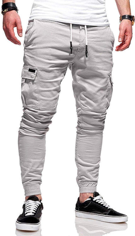 Pantalones para Hombre, Bolsillos Laterales de Color sólido, Cintura elástica, Pantalones para Atar al Tobillo, Pantalones Deportivos Casuales, Pantalones de Trabajo de Uso Diario Simple