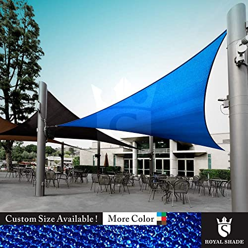 Royal Shade Custom Size Order to Make Sun Shade Sail Canopy Mesh Fabric UV Block Triangle - Commercial Standard Heavy Duty - 200 GSM - 5 Years Warranty Right Triangle 22 x 24 x 32.6 , Blue