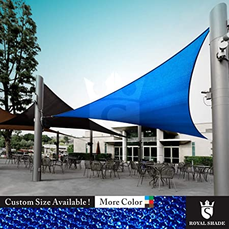 Royal Shade Custom Size Order to Make Sun Shade Sail Canopy Mesh Fabric UV Block Triangle – Commercial Standard Heavy Duty – 200 GSM – 5 Years Warranty Right Triangle 24 x 24 x 33.9 , Blue