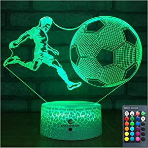easuntecSoccer Gifts Soccer LampwithRemote & Touch 7 Colors+16 Colors Dimmable Soccer Toysfor Boys6 7 8 9 12Year Old Boys Gifts(Soccer 16WT)