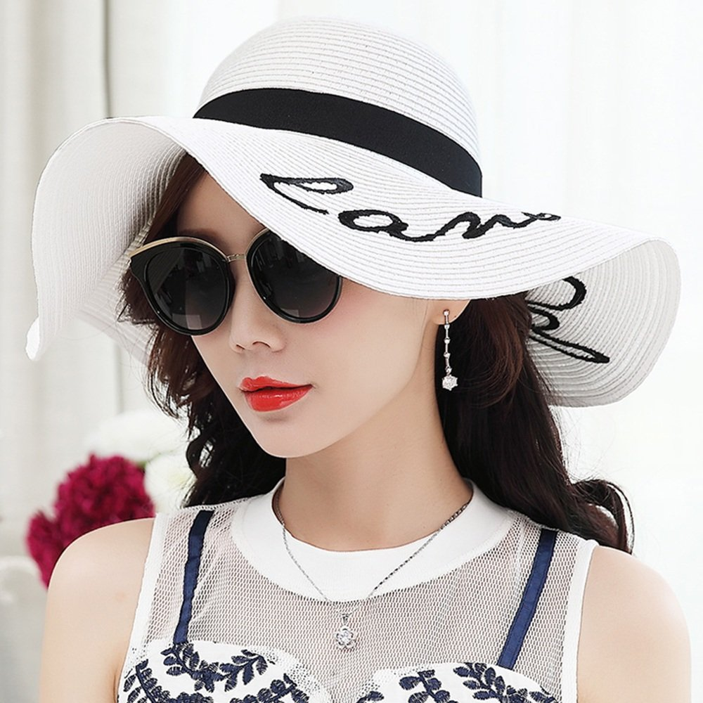 Color : Beige GYH MaoZi LJHA Hat Female Summer Folding Sunscreen Straw Hat Beach Hat Windproof Breathable Sun Hat Outdoor UV Protection Cap