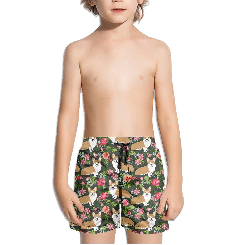 TylerLiu Floral Pattern Cool Kids Boys Fast Drying Beach Swim Trunks Pants