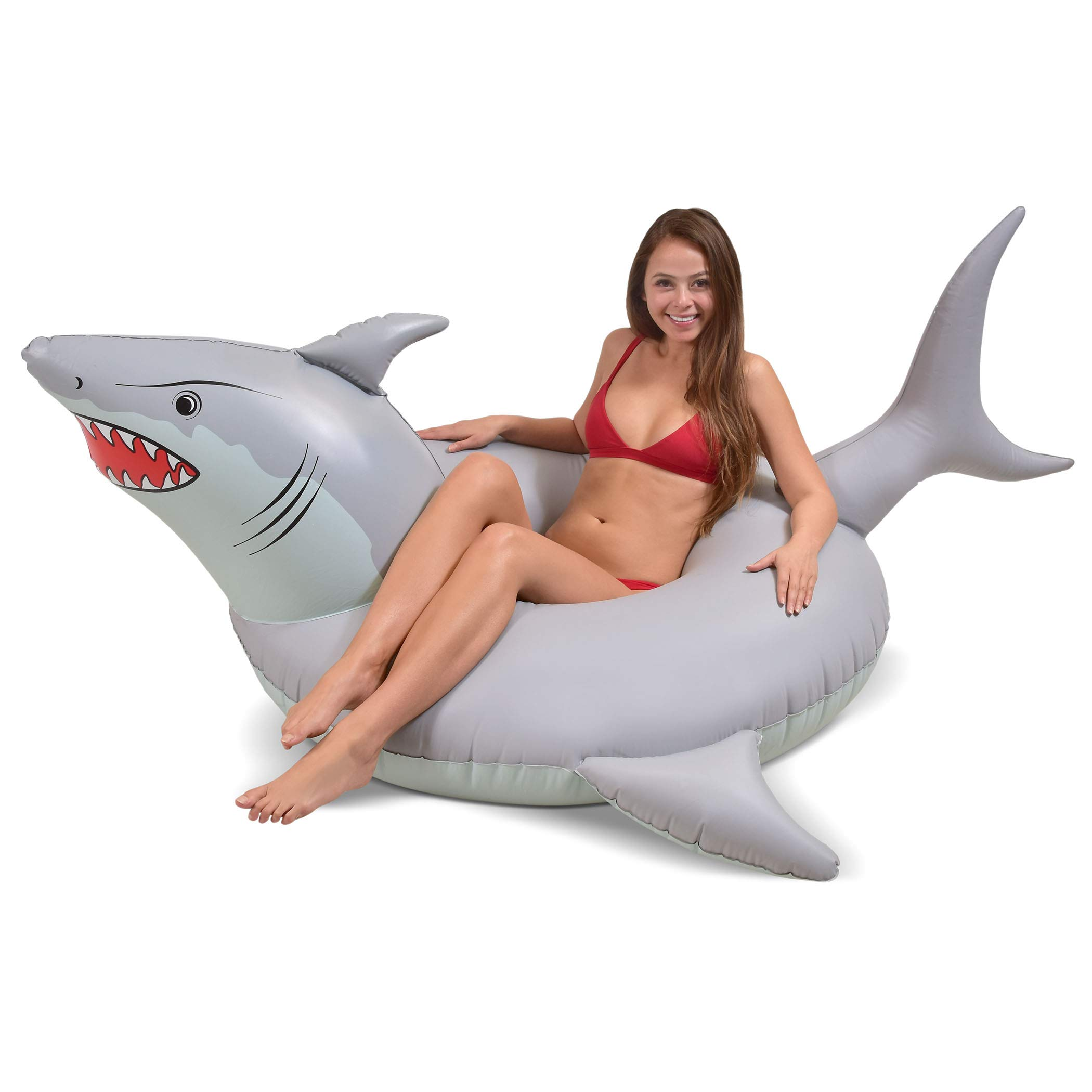 GoFloats 'Great White Bite' Shark Party Tube Inflatable Raft   Fun Pool Float for Adults and Kids by GoFloats