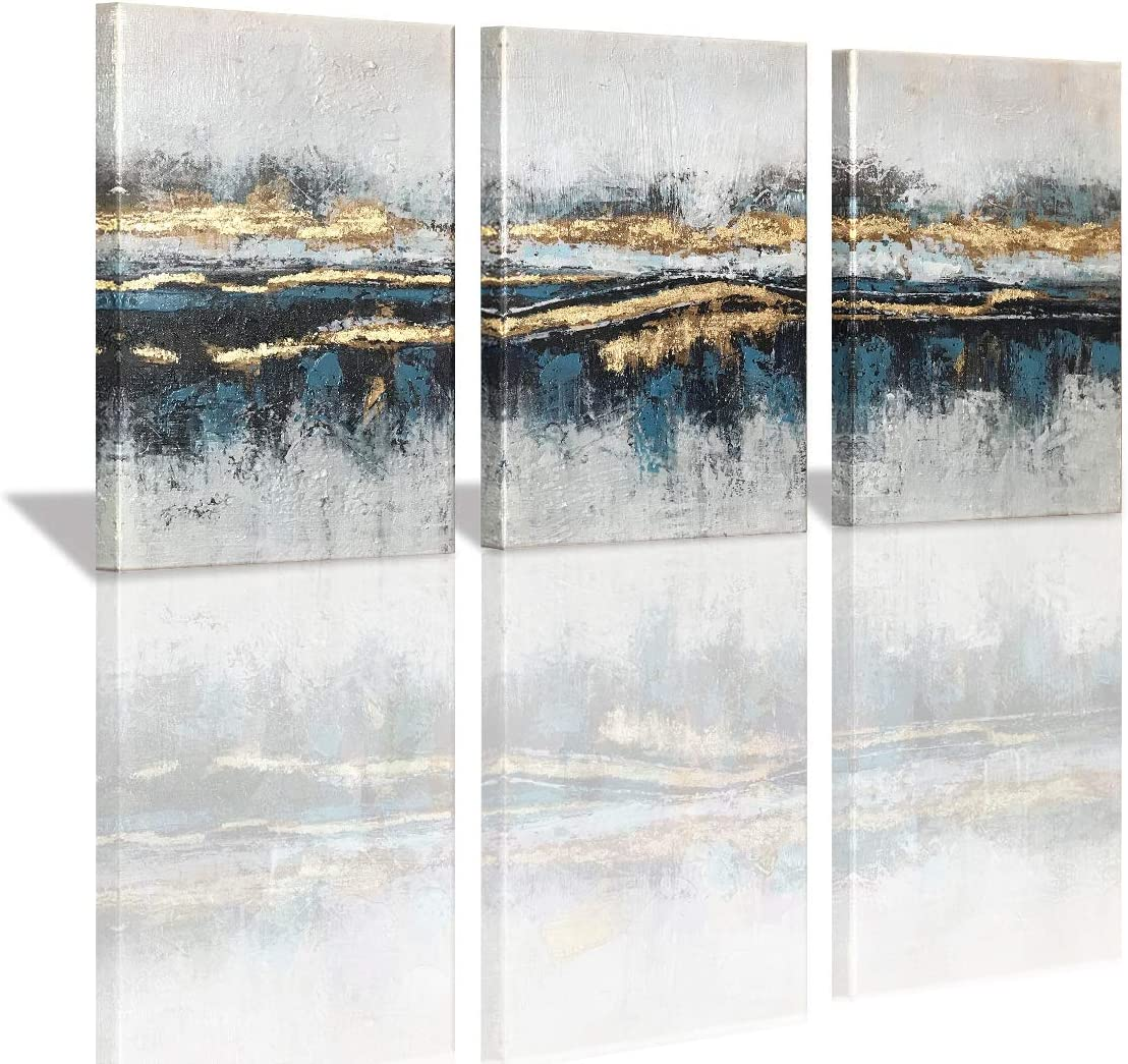 Yatehui Blue and Gold Abstract Canvas Wall Art 3 Pieces Modern Giclee Prints Wall Decor Paintings with Gold Foil Ready to Hang 12x16 Inch
