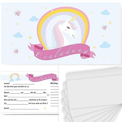 8 Einladungskarten Einhorn Geburtstag Kinder Kindergeburtstag Einladungen