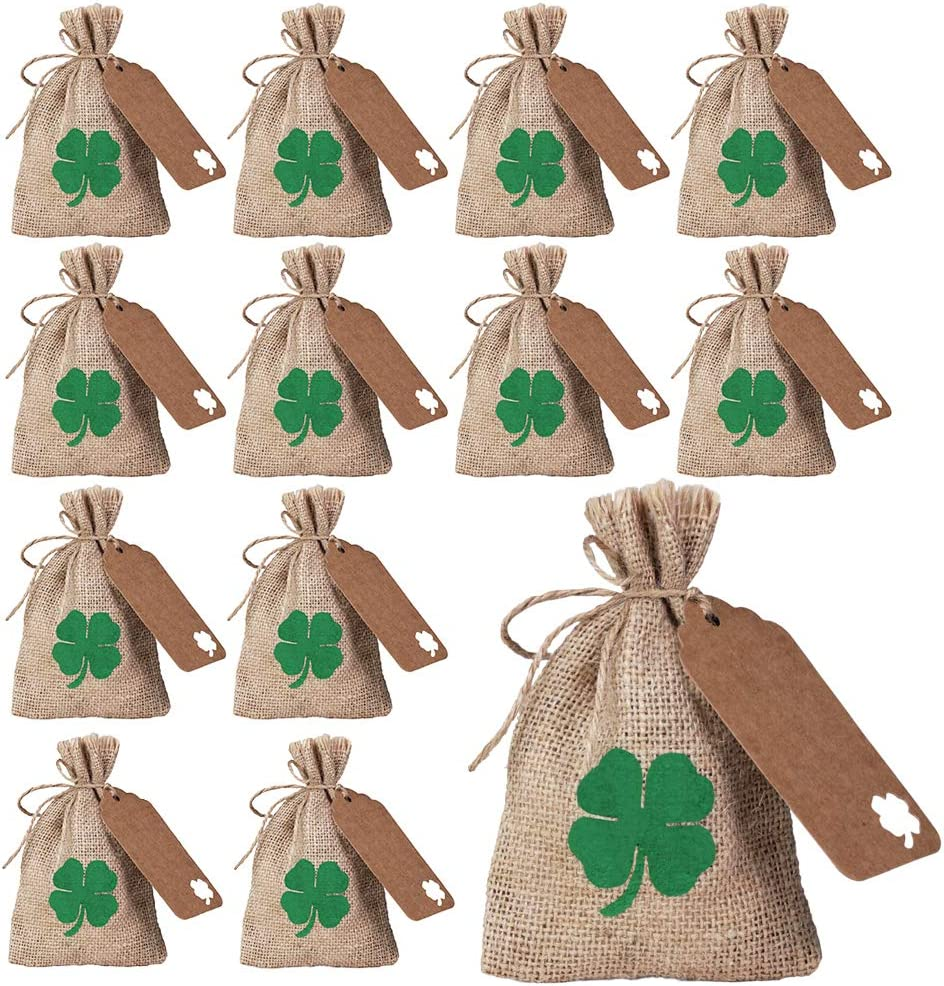 12 Sets St. Patrick's Day Party Favor Bags Lucky Shamrock Burlap Gift Bags Four-Leaf Clover Rustic Hessian Goody Bags Kids Candy Treat Bags Coin Bags with Gift Tags for Saint Patrick's Day Irish Party