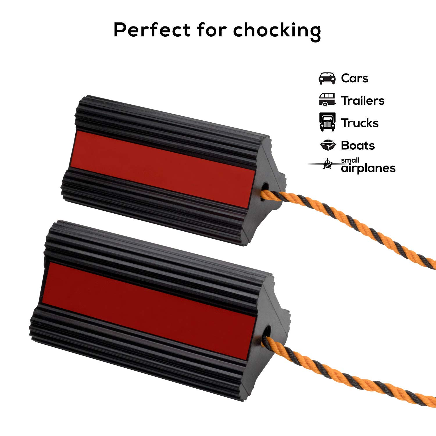 Valup Wheel Chocks - Car and RV Rubber Block - Long Connecting Rope - Heavy Duty Car Wheel Stoppers Chock - Extremely Durable - for Cars, Boats, Trucks, Aircraft, RVs (1 Pair) by Valup (Image #4)
