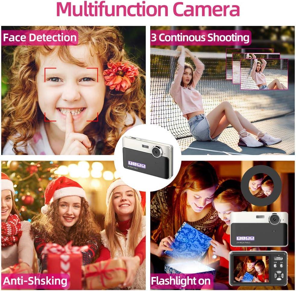 Appareil photo num/érique 24 MP Cam/éra 2,4 pouces TFT LCD Appareil photo num/érique Mini cam/éra vid/éo Point et Shoot Cam/éra pour enfants adolescents d/ébutants