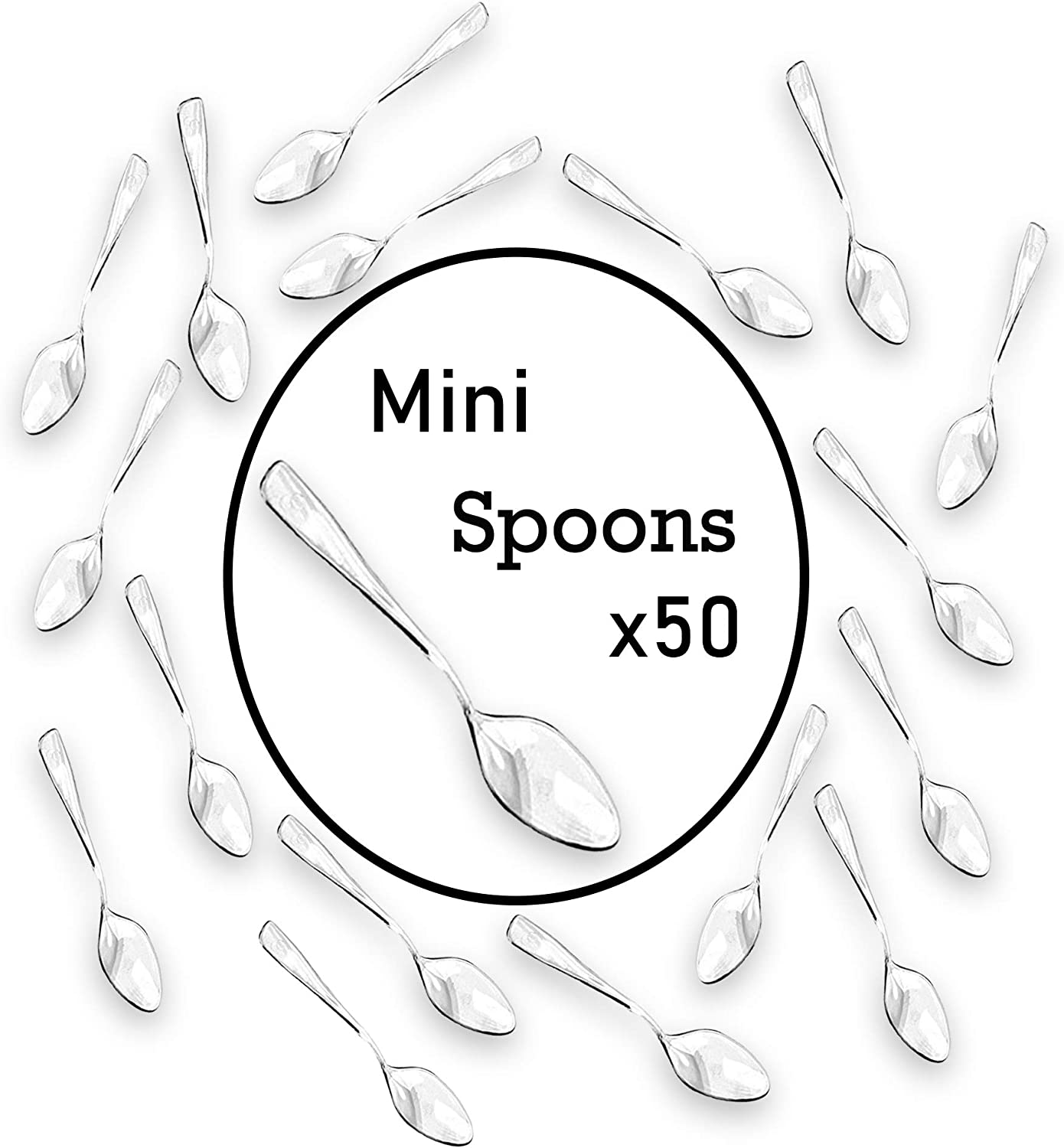 Loreso Disposable Plastic Mini Clear Dessert Spoons For Miniature Dessert Cups, Tasting Party, Sampling, Ice Cream, Small Catering Supplies - 50 CT