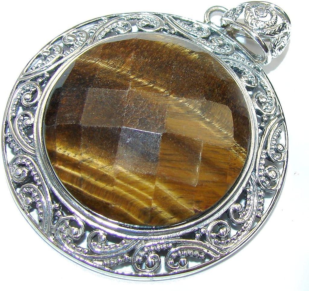 FREE GIFT BOX Tigers Eye Women 925 Sterling Silver Pendant