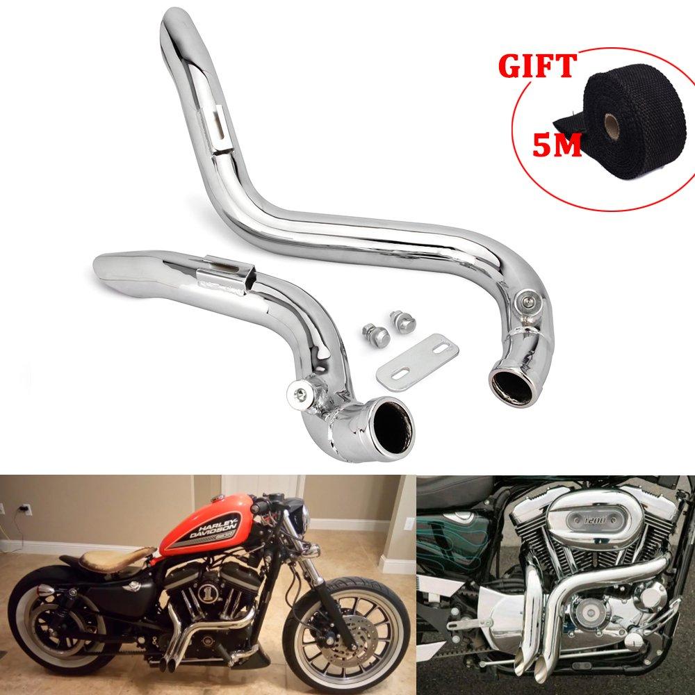 JFG RACING 2' Chrome Laf Drag Pots d'é chappement silencieux pour Harley-Davidson Sportsters, Sacs, Softails et Douanes