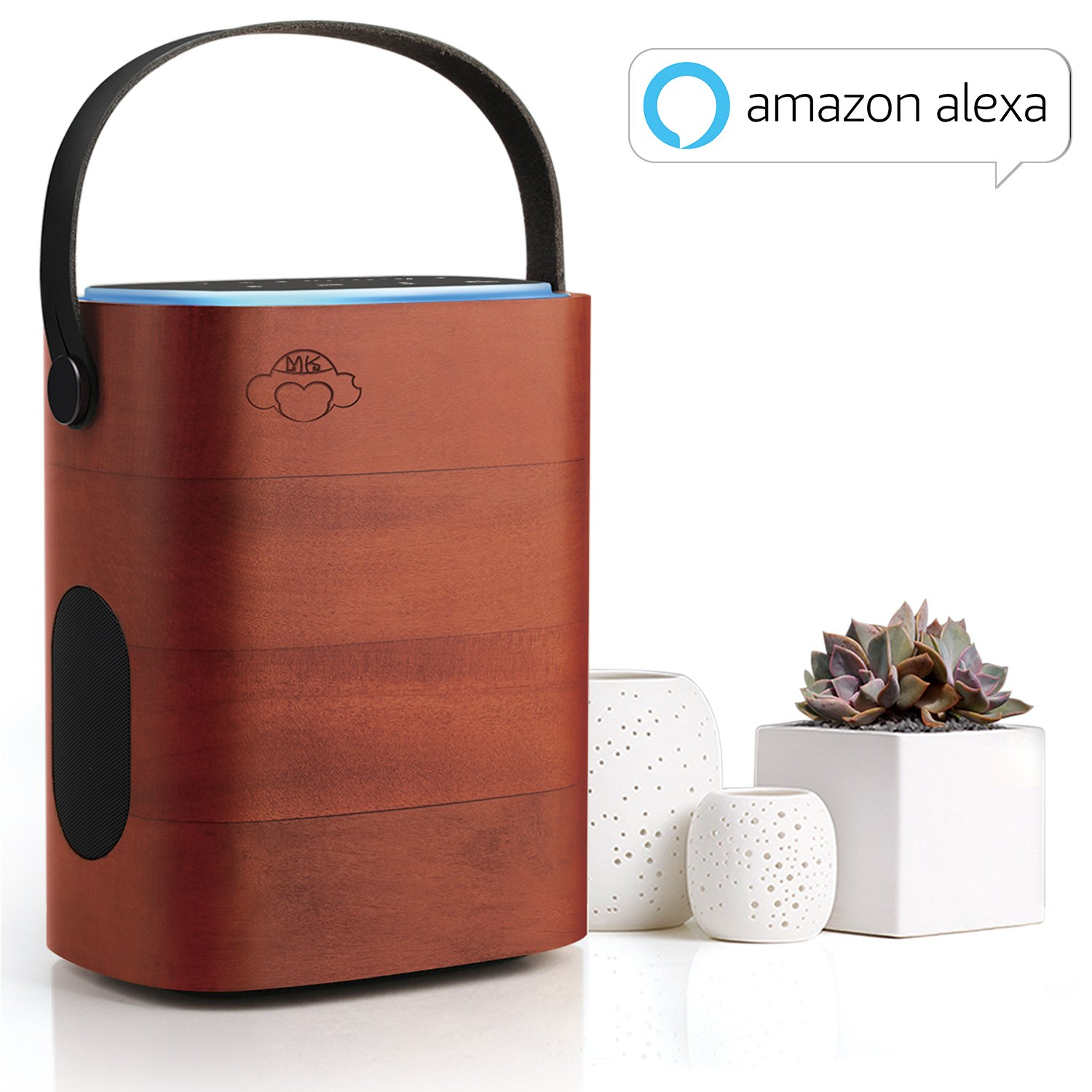 Portable Smart Speaker Works with Amazon Alexa Multi Room Use Farfield Voice-activated without tap WiFi Bluetooth speaker with Wooden Enclosure by MK