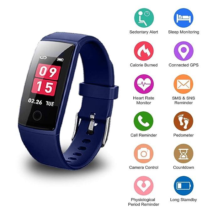 Pulsera Actividad Inteligente WeiSocket-Fitness Tracker SmartWatch Activity Tracker Reloj Inteligente Impermeable con Monitor de Ritmo Cardíaco,Podómetro,Calorías para Android/IOS Mensaje