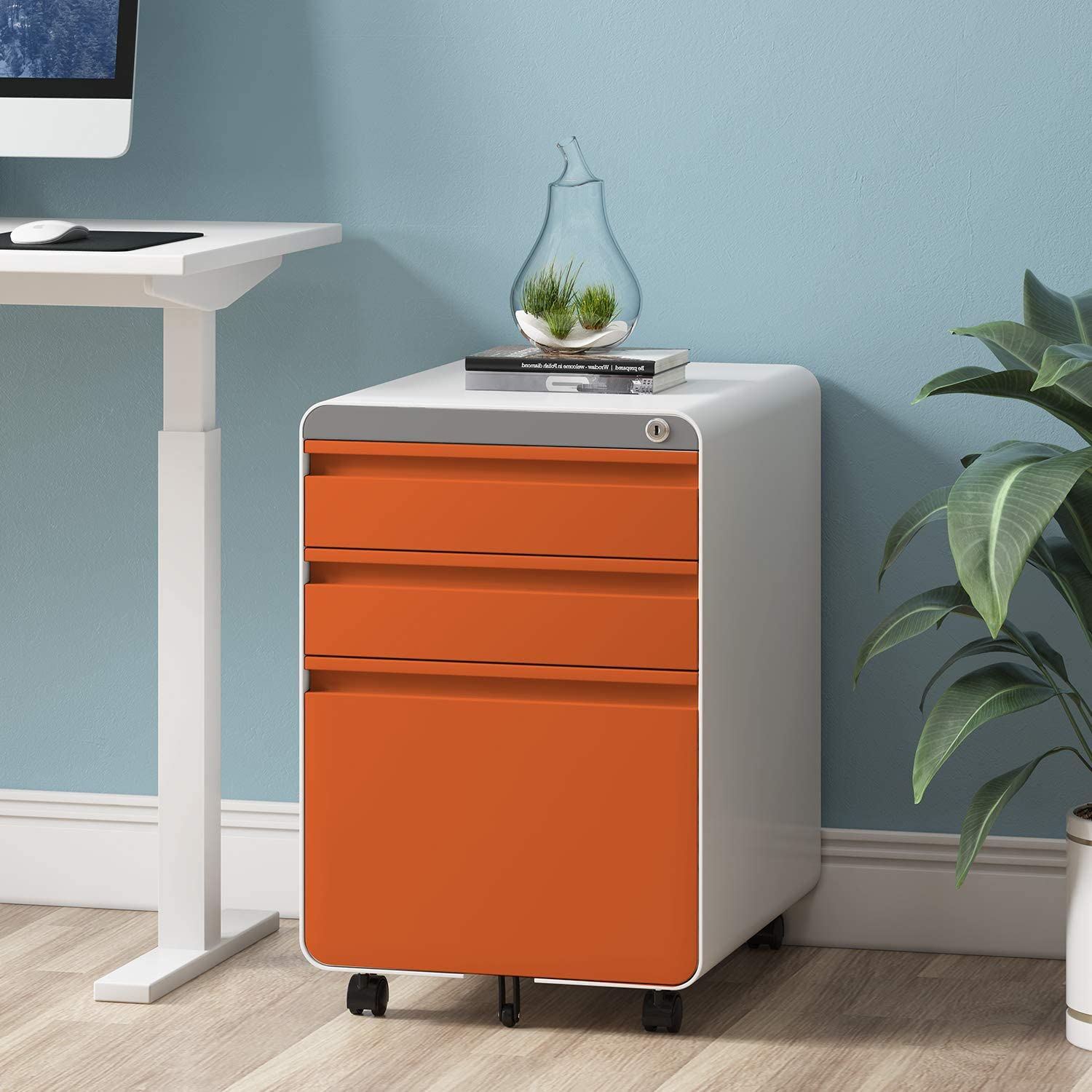 Dprodo 3 Drawers Mobile File Cabinet with Lock, Metal Filing Cabinet for Legal & Letter Size, Fully Assembled Locking File Cabinet for Home & Office,Orange