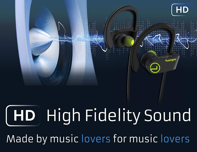 Auriculares Bluetooth 4.1 Inalambricos Yuanguo Cascos Deportivos In Ear Sonido Estéreo con Micrófono y Cancelación de Ruido CVC 6.0 &Tecnología APTX ...