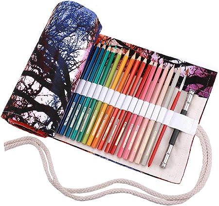 abaría - Estuche Enrollable para 72 lápices Colores, portalápices de Lona - Puesta de Sol (no Tiene lápices): Amazon.es: Hogar