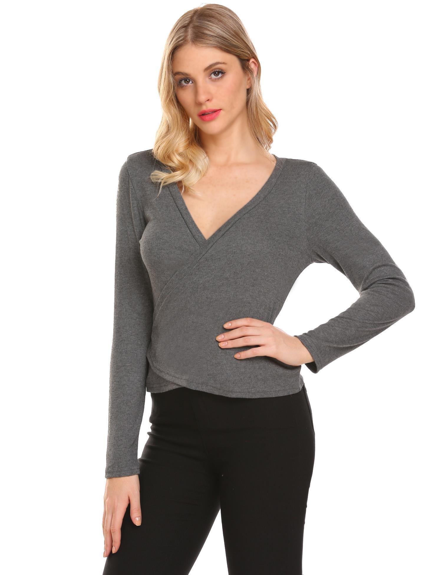 Grabsa Women Long Sleeves Knit Surplice Wrap Top For Leggings Gray XL