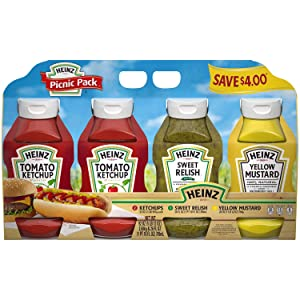 Heinz Variety Condiment Relish, Ketchup, Mustard Picnic Pack - 4 Ct.