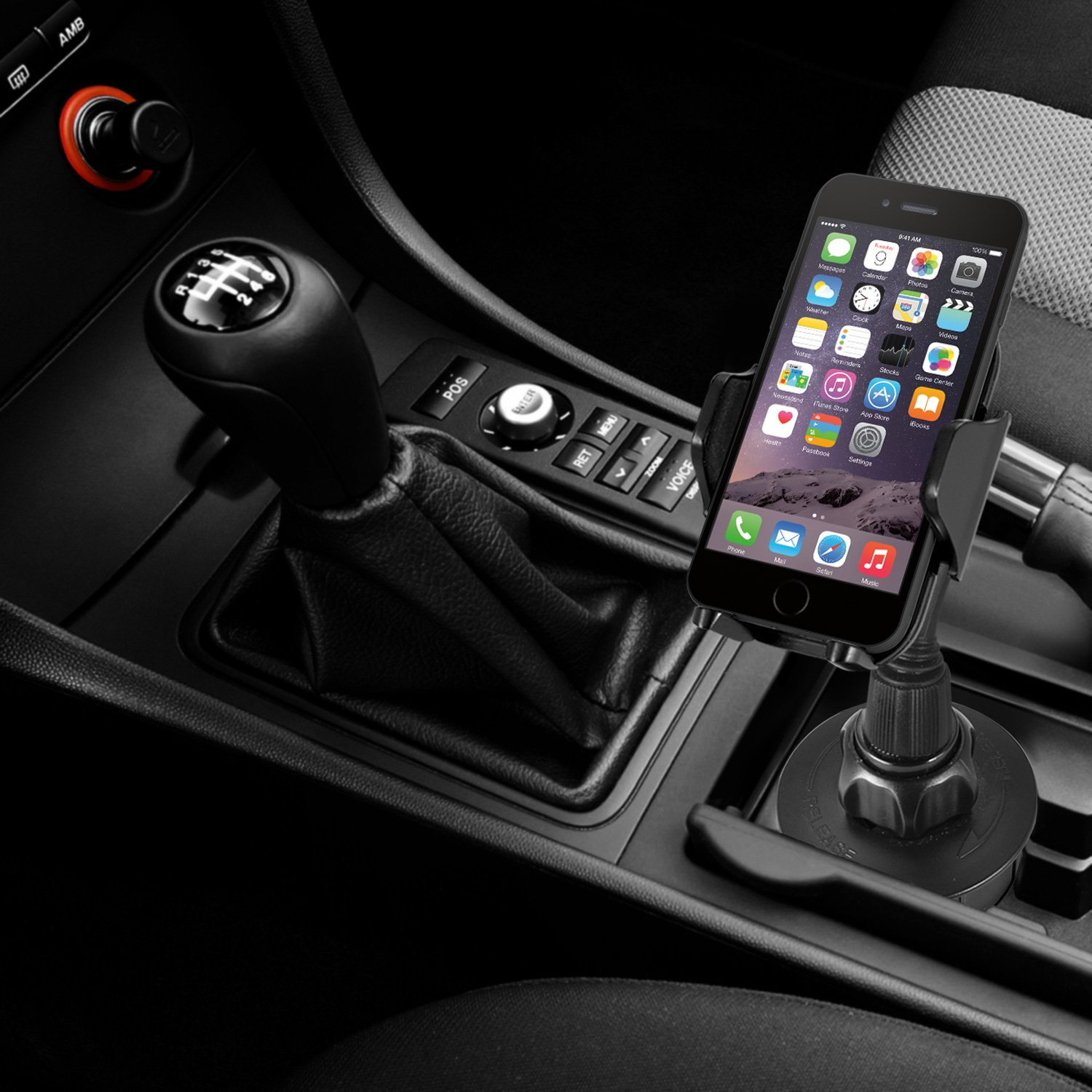 Macally Adjustable Automobile Cup Holder Phone Mount for iPhone X 8 8+ 7 7 Plus 6s Plus 6s SE Samsung Galaxy S9 S9+ S8 S7 Edge S6 S5 Note 5, iPod, Smartphones, MP3, GPS etc (MCUPMP) by Macally (Image #11)